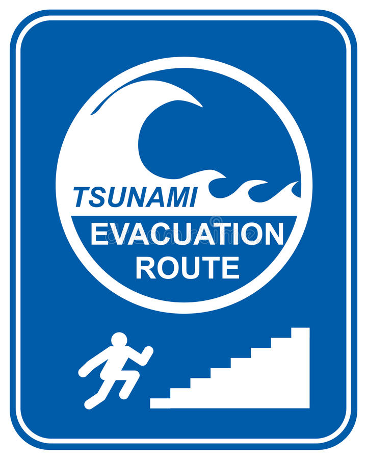 Tsunami pedestrian. Tsunami warning signs showing evacuation route directions for pedestrians climbing stairs royalty free illustration