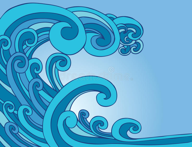 Tsunami Tidal Wave. Huge tsunami tidal wave in the ocean vector illustration