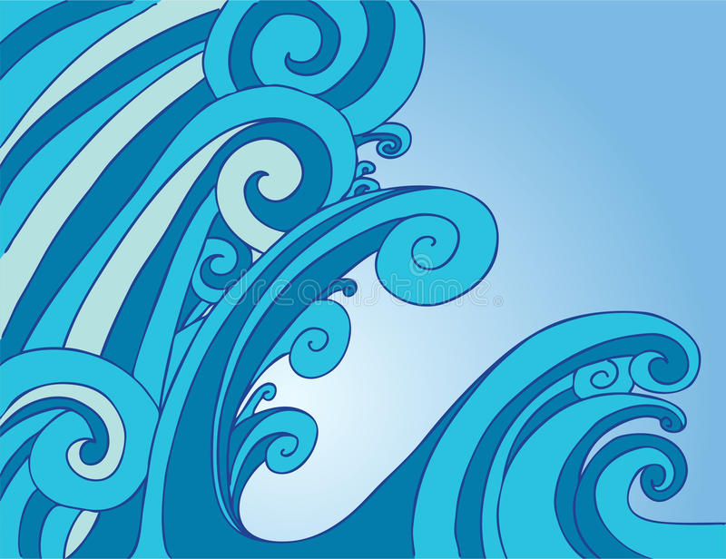Tsunami Tidal Wave. Huge tsunami tidal wave in the ocean royalty free illustration