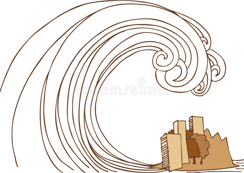 Tsunami Tidal Wave on City. Huge tsunami tidal wave in the ocean about to come down on city stock illustration