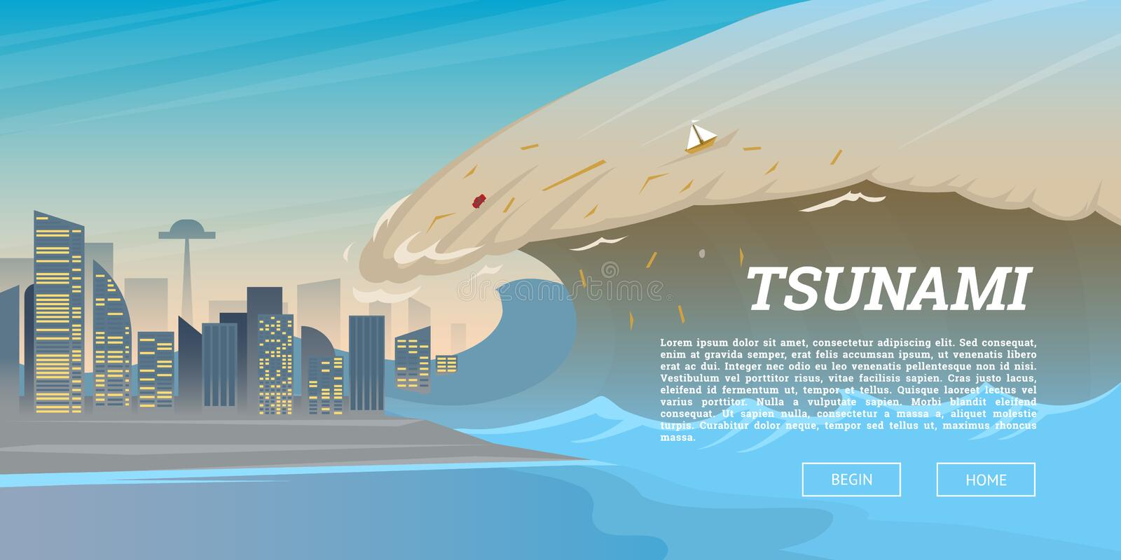 Tsunami on tropical beach. Big waves and ocean surface. Landscape Flood and Disaster. City on seashore. Summer vacation royalty free illustration