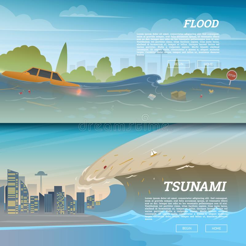 Tsunami on tropical beach. Big waves and ocean surface. Landscape Flood and Disaster. City on seashore. Summer vacation. And catastrophe. Natural cataclysm vector illustration
