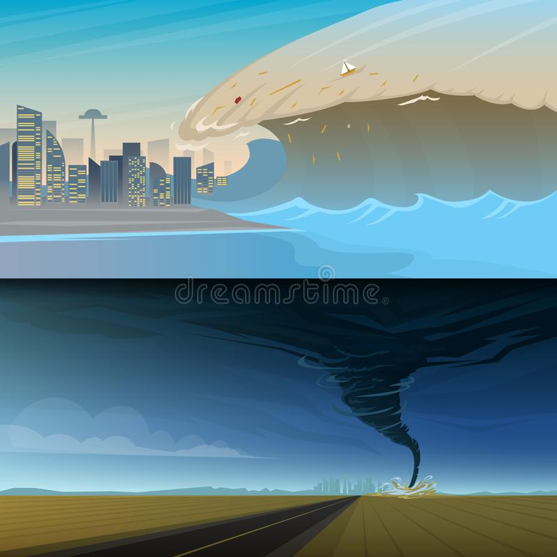 Tsunami and Twisting tornado or storm from. Big waves and ocean surface. Landscape Flood and Disaster. Summer vacation. And catastrophe. Natural cataclysm stock illustration