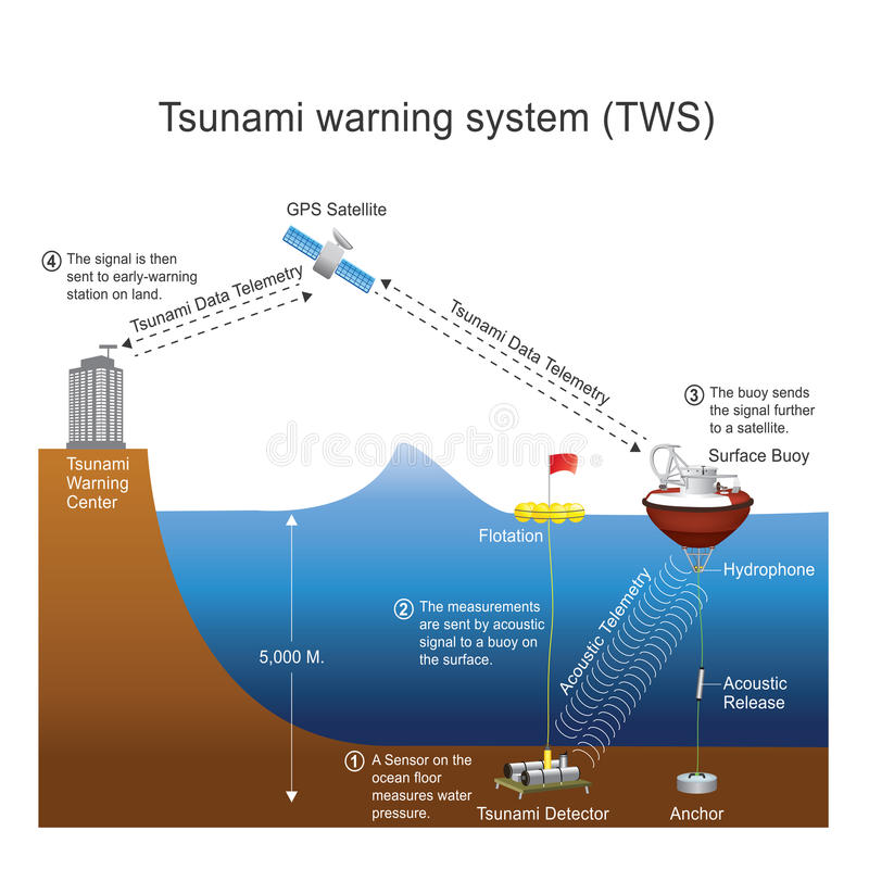 Tsunami warning system TWS. Vector design. A tsunami warning system TWS is used to detect tsunamis in advance and issue warnings to prevent loss of life and stock illustration