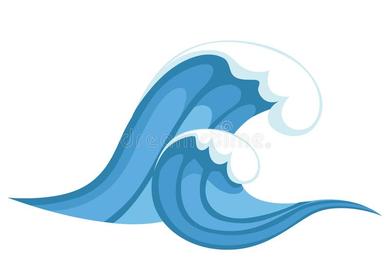 Tsunami Wave Big Blue Sea Wave In Cartoon Style Cataclysm Color - Fresh tsunami powerpoint presentation design
