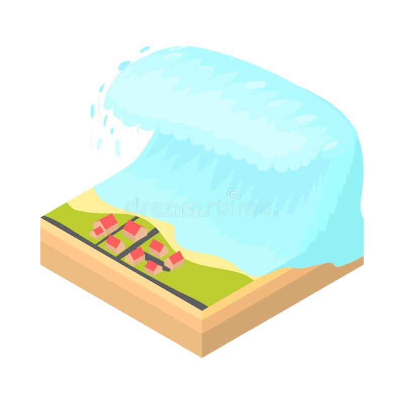Tsunami wave icon, cartoon style. Tsunami wave icon in cartoon style on a white background vector illustration stock illustration