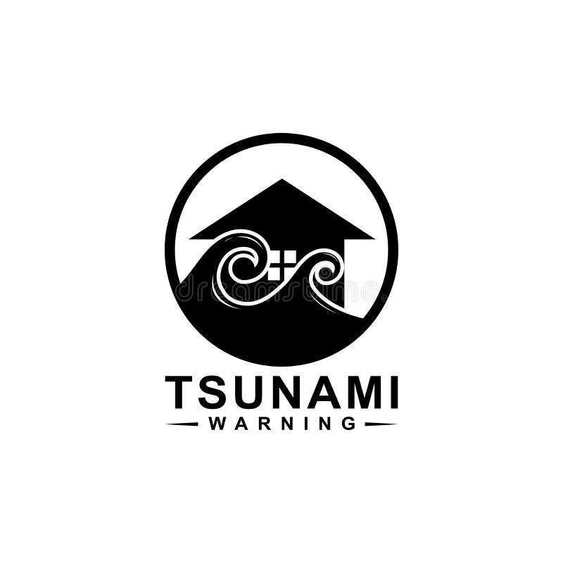 Tsunamilogodesign, det hoprullade huset vågorna vektor illustrationer