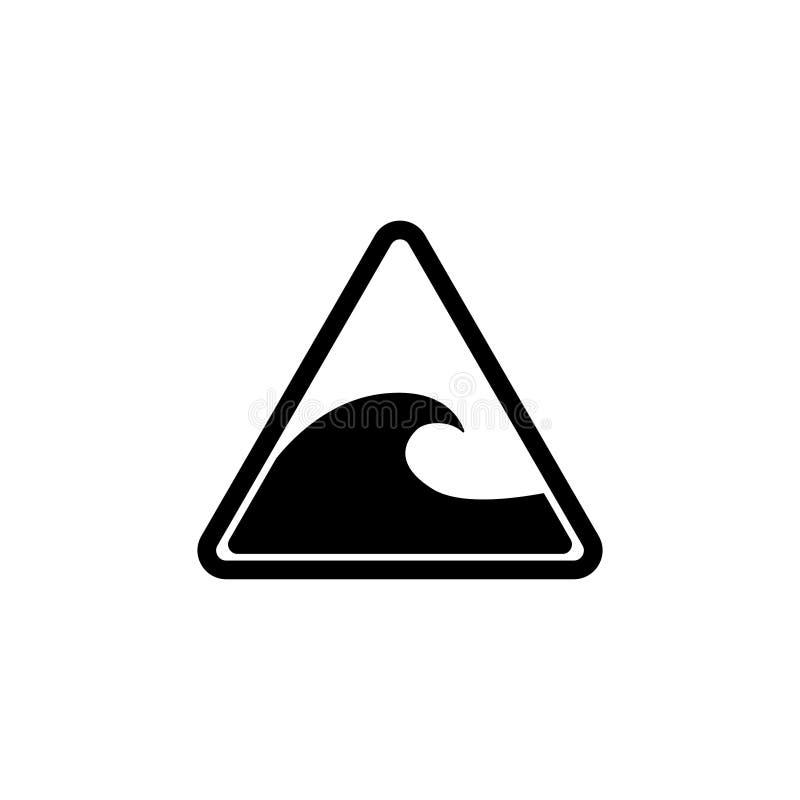 Tsunamivarning, stora vågor sänker vektorsymbolen vektor illustrationer