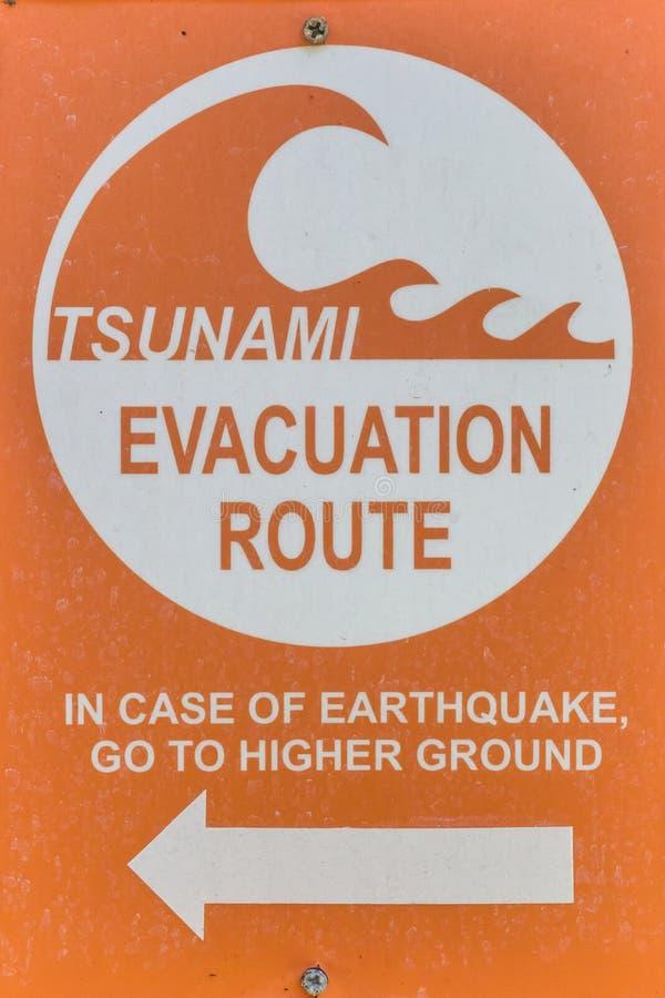 Tsunamiwaarschuwingsbord royalty-vrije stock afbeelding