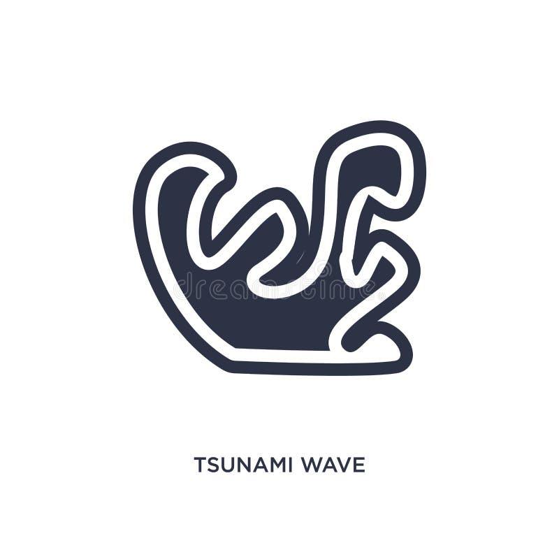 Tsunamiwellenikone auf weißem Hintergrund Einfache Elementillustration vom Meteorologiekonzept stock abbildung