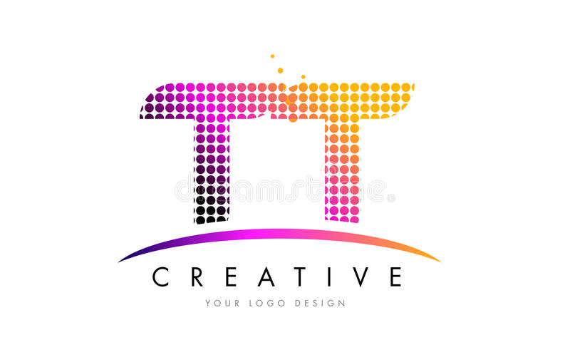 TT T Letter Logo Design with Magenta Dots and Swoosh. TT T Dots Letter Logo Design with Magenta Bubble Circles and Swoosh royalty free illustration