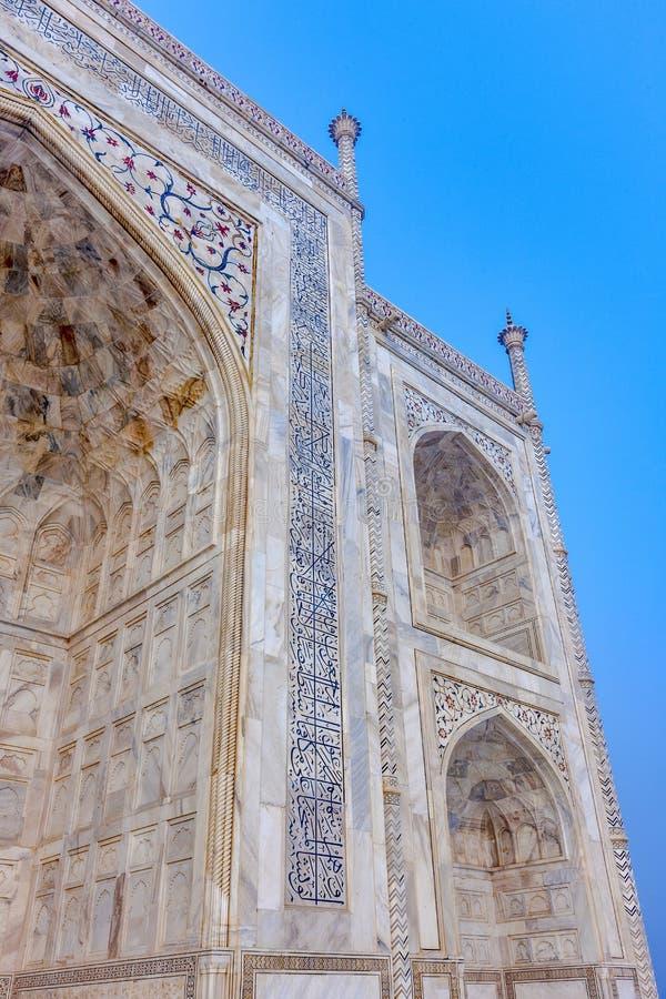 TTaj玛哈尔,印度-盛大宫殿的建筑片段和细节 免版税库存照片