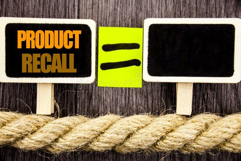 Ttext montrant le rappel de produits Concept d'affaires pour le retour de remboursement de rappel pour des défauts de produits éc image stock