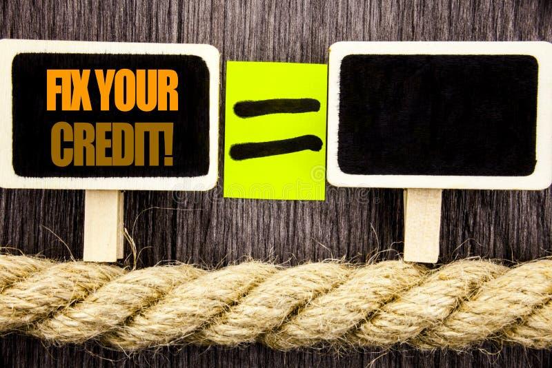 Ttext visningknipa din kreditering Affärsidé för den dåliga ställningen som klassar Avice Fix Improvement Repair som är skriftlig arkivfoto
