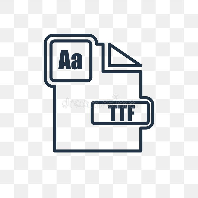 Ttf vector icon isolated on transparent background, linear Ttf t. Ttf vector outline icon isolated on transparent background, high quality linear Ttf vector illustration