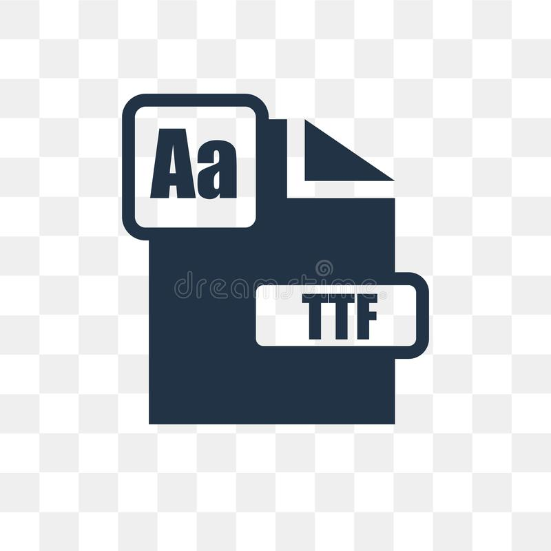 Ttf vector icon isolated on transparent background, Ttf transpa. Rency concept can be used web and mobile, Ttf icon royalty free illustration