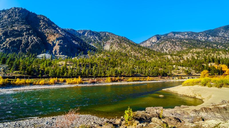 Tthe Thompson River at Goldpan Provincial Park in BC Canada. Fall colors surrounding the Thompson River at Goldpan Provincial Park on the Fraser Canyon route of royalty free stock photos
