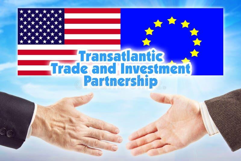 TTIP, υπερατλαντικές εμπόριο και συνεργασία επένδυσης Συμμαχία μεταξύ της Ευρωπαϊκής Ένωσης και των Ηνωμένων Πολιτειών της Αμερικ στοκ εικόνα