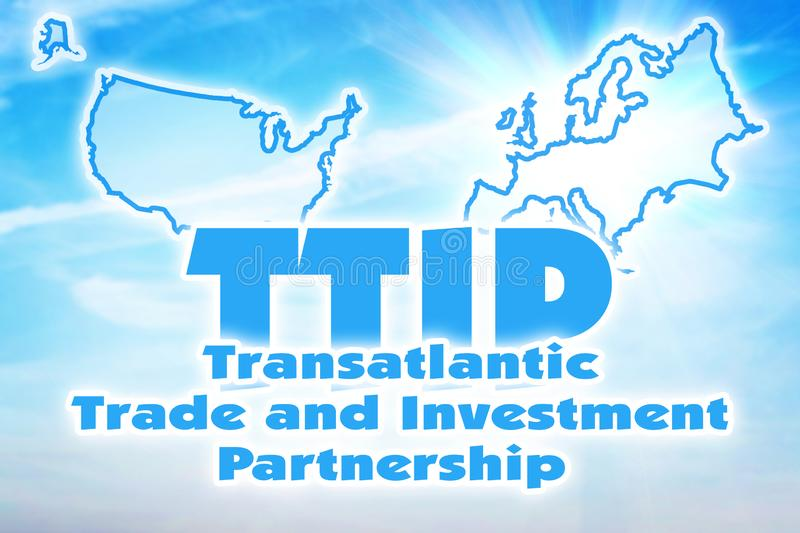 TTIP, Transatlantic Trade and Investment Partnership. Alliance between European Union and USA royalty free illustration