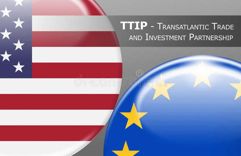 TTIP - Transatlantic Trade and Investment Partnership. TTIP USA - EUROPE - Flag buttons labeled with TTIP - Transatlantic Trade and Investment Partnership vector illustration