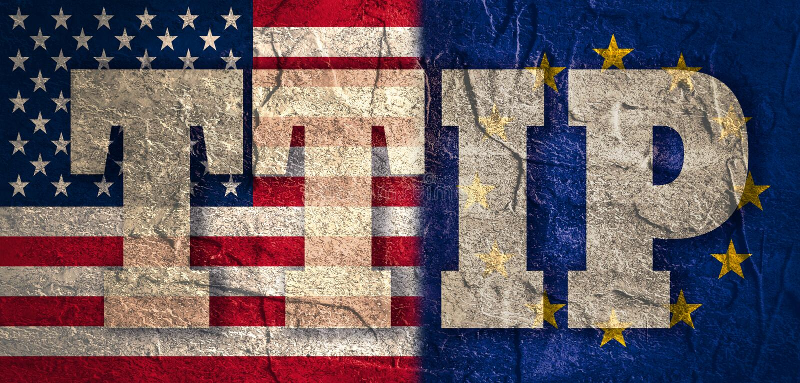 TTIP - Transatlantycki handlu i inwestyci partnerstwo ilustracja wektor