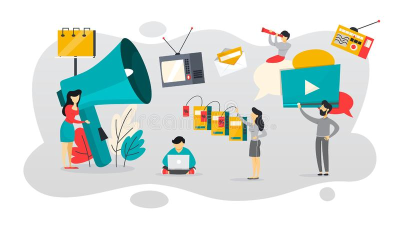 TTL o a través de la línea comunicación con el cliente ilustración del vector