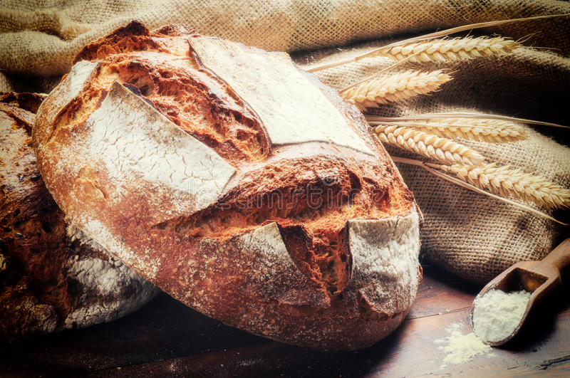 Ttraditional bread in rustic setting stock image