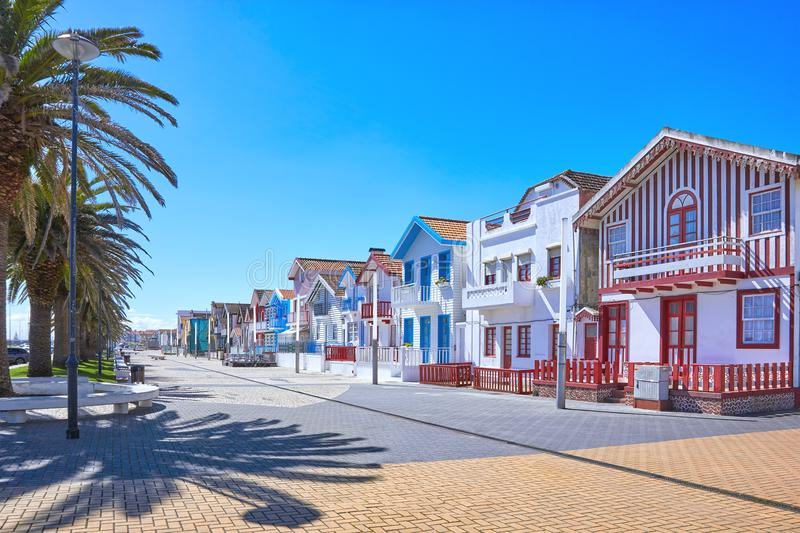 Ttraditional houses in Costa Nova, Aveiro. Portugal royalty free stock images