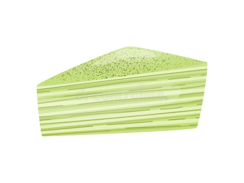 Ttriangular-Stück des grünen Kuchens Vektorabbildung auf wei?em Hintergrund stock abbildung