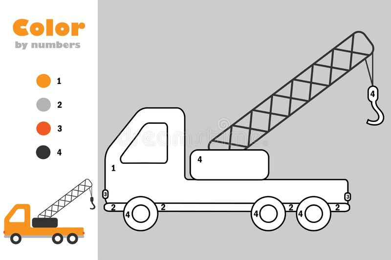 Ttruck crane in cartoon style, color by number, education paper game for the development of children, coloring page, kids royalty free illustration