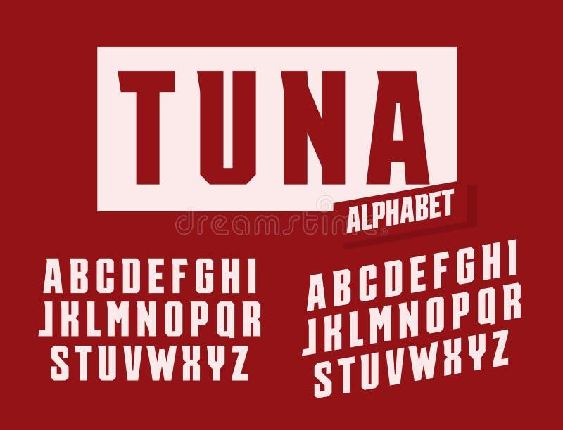 Tuńczyków listy ustawiający Nadużyty i wysoki z modnymi graniastymi serifs projektuje wektorowego łacińskiego abecadło Chrzcielni ilustracja wektor