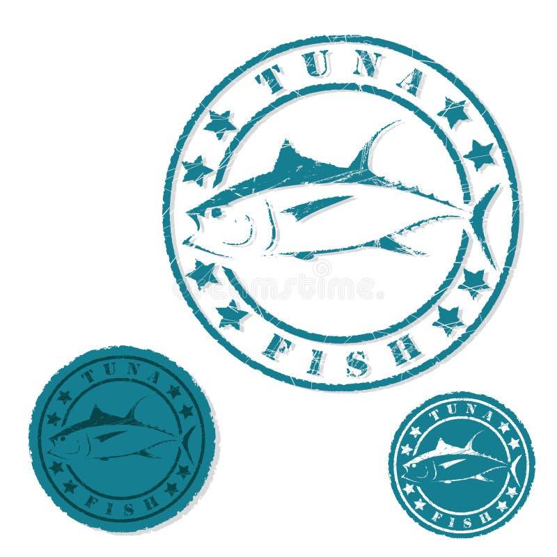 Tuńczyk ryba grunge znaczek royalty ilustracja