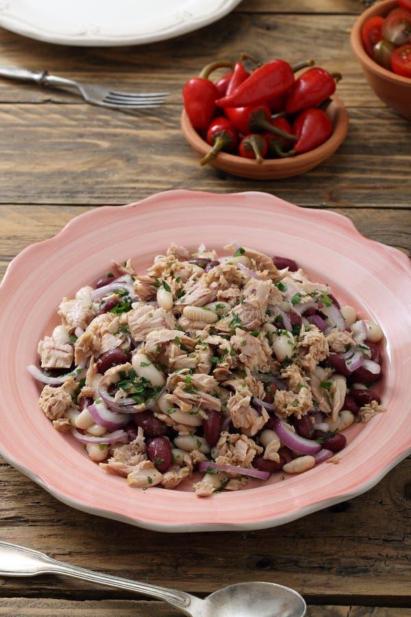 Tuńczyk ryba sałatka z cebulą i fasolami zdjęcia stock
