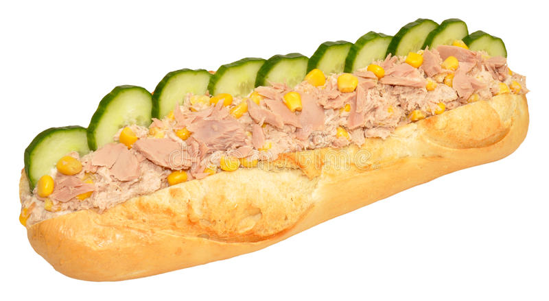 Tuńczyka I Słodkiej kukurudzy Baguette kanapka zdjęcie royalty free