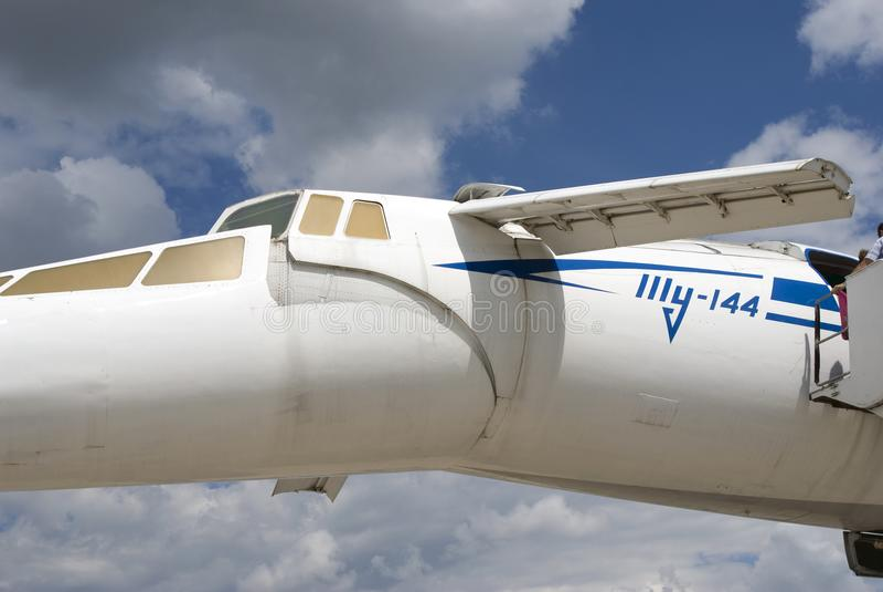 Tu144在MAKS国际航空航天沙龙MAKS-2017的飞机 免版税库存照片