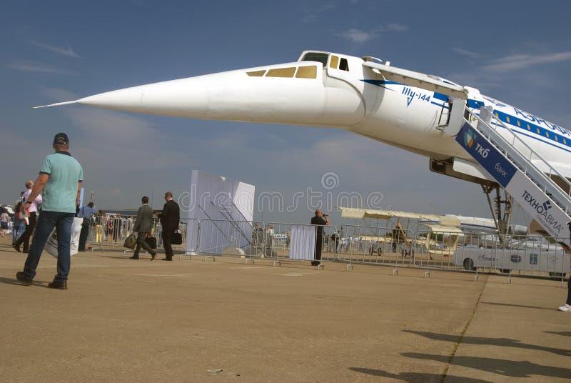 Tu-144 przy MAKS Międzynarodowym Kosmicznym salonem obrazy stock