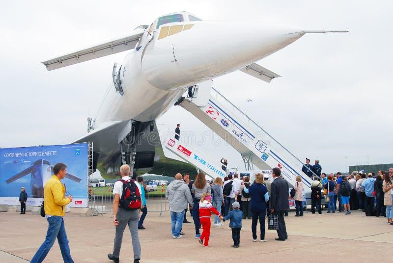 TU-144 salon aérospatial international MAKS-2013 image stock