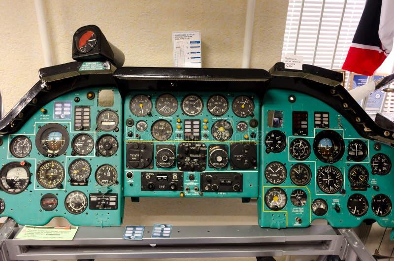 TU-134 samolotowy instrument i pulpit operatora zdjęcia royalty free