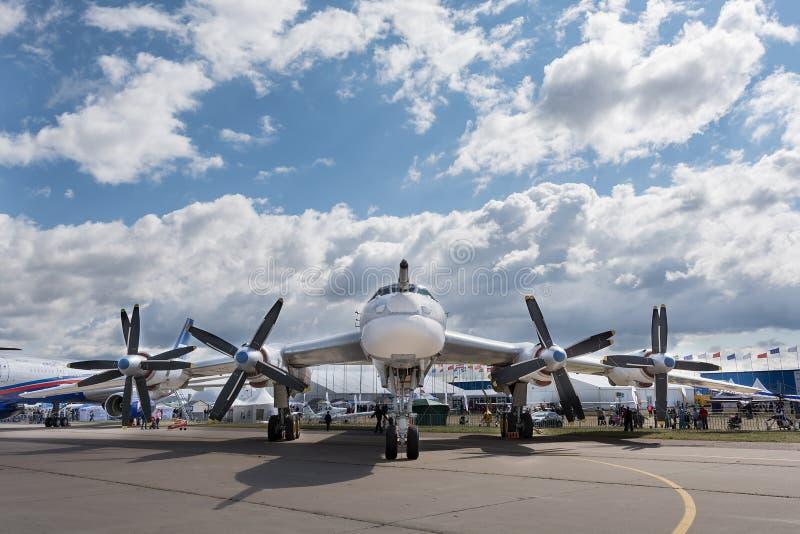 Tu-95 strategic bomber. ZHUKOVSKY city, Moscow region, Russian Federation - August 30, 2015. MAKS 2015 - International Aviation and Space Salon. Tu-95 strategic stock photography