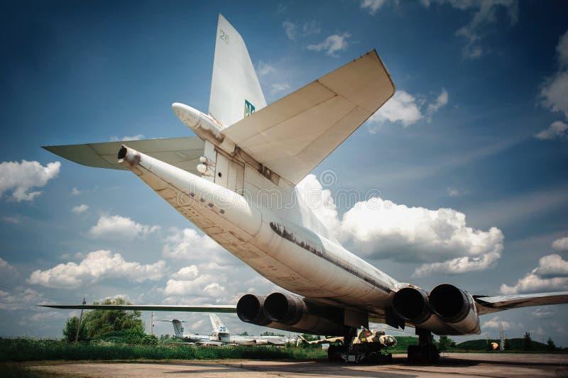 Tu-160 supersonic strategic bomber, museum exhibit Poltava Ukraine. Tu-160 Tupolev supersonic strategic bomber with variable sweep wing, museum exhibit Poltava royalty free stock image