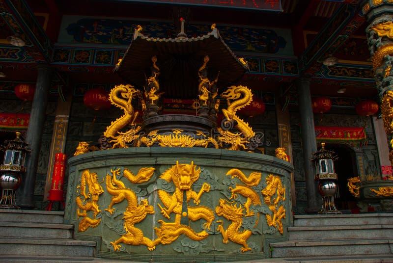 Tua Pek Kong Chinese Temple Bintulustad, Borneo, Sarawak, Maleisië stock afbeelding