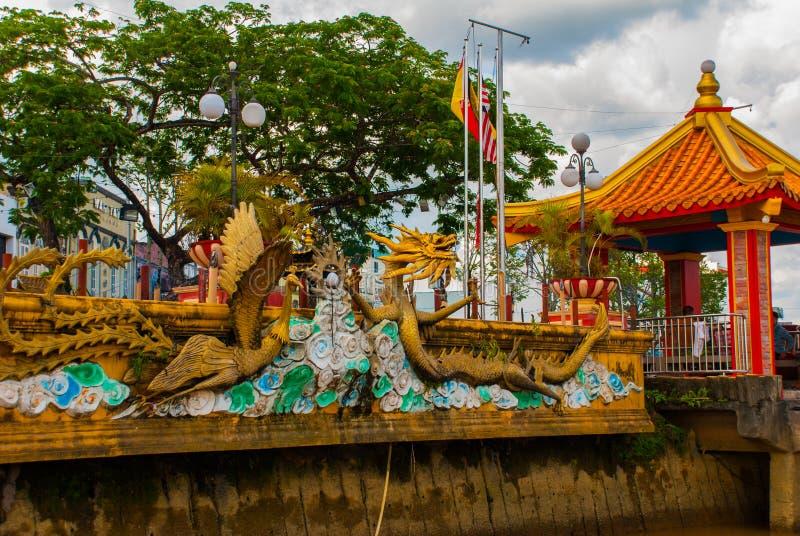 Tua Pek Kong Temple den härliga kinesiska templet av den Sibu staden, Sarawak, Malaysia, Borneo royaltyfri foto