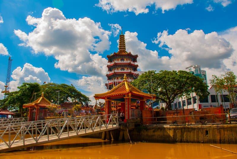 Tua Pek Kong Temple le beau temple chinois de la ville de Sibu, Sarawak, Malaisie, Bornéo images stock
