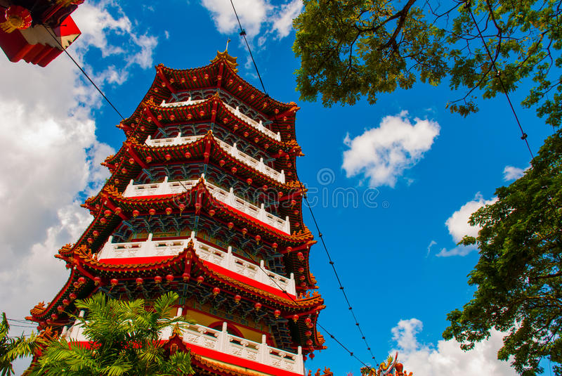 Tua Pek Kong Temple le beau temple chinois du ` s de ville de Sibu de Sarawak, Malaisie, Bornéo photo stock