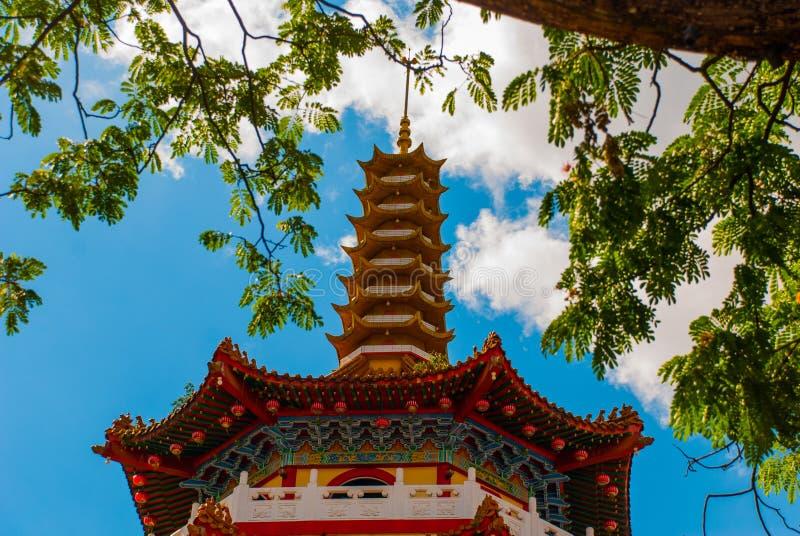 Tua Pek Kong Temple o templo chinês bonito do ` s da cidade de Sibu de Sarawak, Malásia, Bornéu imagens de stock royalty free