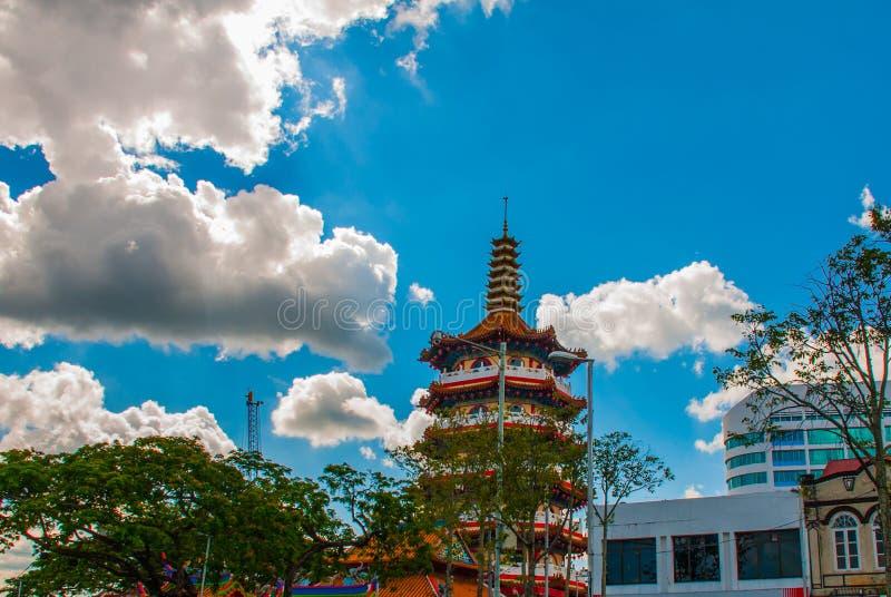 Tua Pek Kong Temple o templo chinês bonito do ` s da cidade de Sibu de Sarawak, Malásia, Bornéu foto de stock royalty free