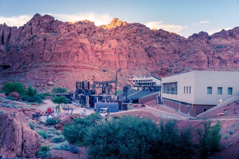 Tuacahn mitt för konsterna, Ivins, Utah, förutom St George fotografering för bildbyråer