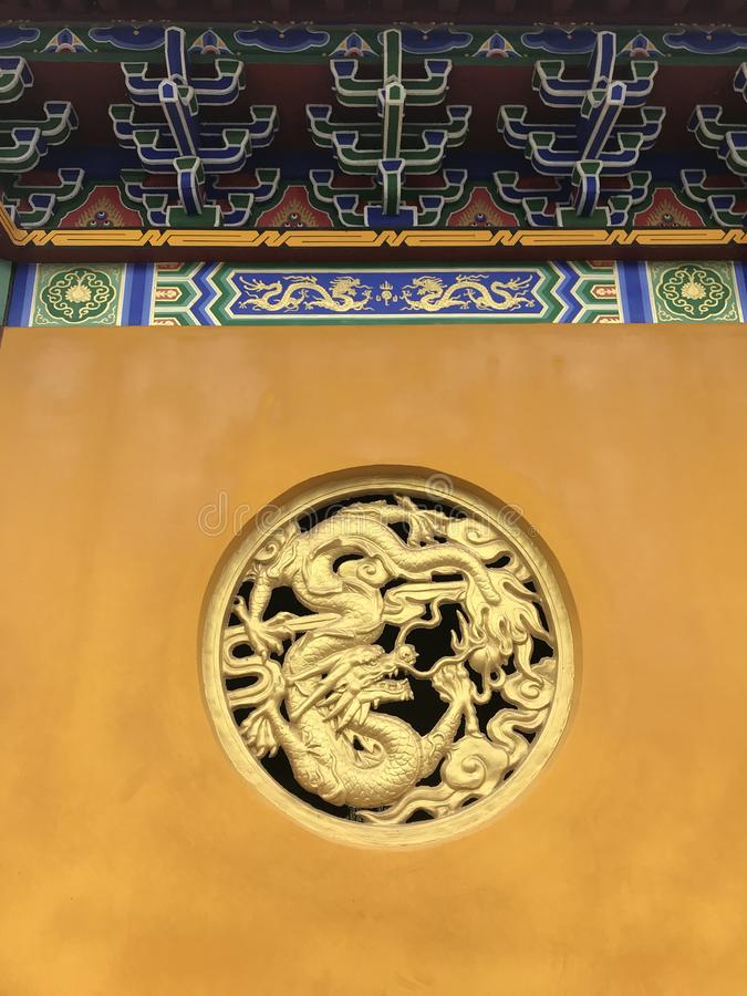 Dragon relief-Lianchi Temple, Nanchang. Tuanlong pattern is the highest grade decorative pattern in Ming and Qing dynasties, and can only be used for the royalty free stock images
