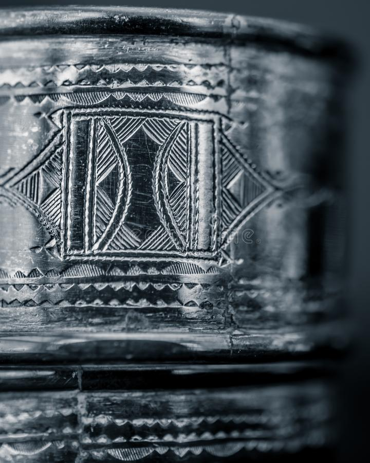 Tuareg Silver Engraving Detailed Close-up royalty free stock photography