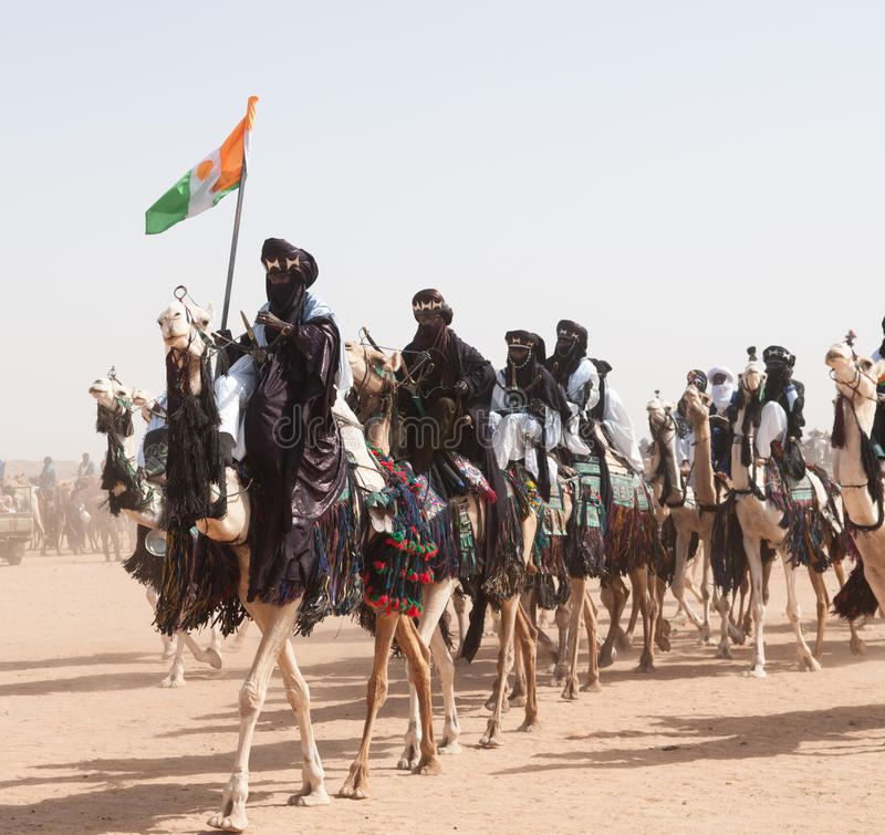 Tuaregs podczas festiwalu koczownik, lekarstwo Salee, Niger obraz royalty free